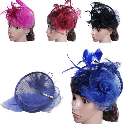Flower Feather Comb Fascinator Wedding Race Prom Bridal Hat Accessories Headband