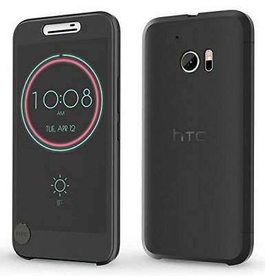 For HTC 10 M10 Ice Clear Smart View Flip Case Cover Sleep/Wake Function Black