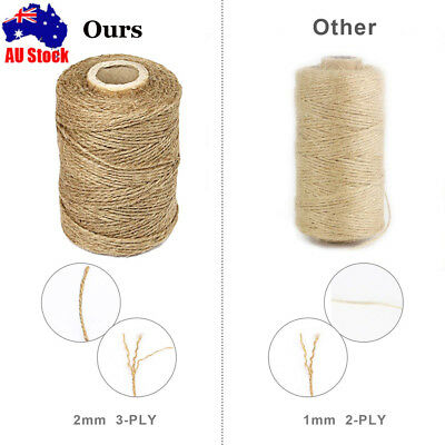 3Ply 1-1000m Natural Brown Soft Jute Rope Twine Sisal String For Art Gift Bottle