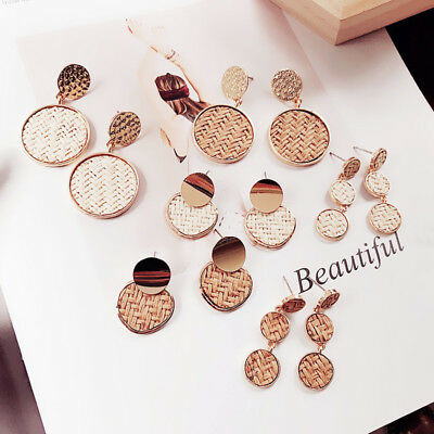 Graceful Women Geometric Long Drop Earrings Ear Stud Wooden Straw Weave 6Models