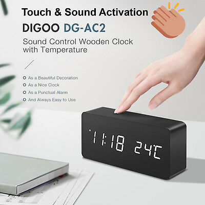 Digoo Wooden Touch Voice Control Digital Temperature Weather 3 Modes Alarm Clock