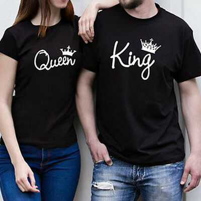 Couple T-Shirt King And Queen Crown Love Matching Shirts Summer Tee Tops S-3XL