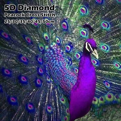DIY 5D Full Drill Painting Diamond Purple Peacock Cross Stitch Wall Decor Gift