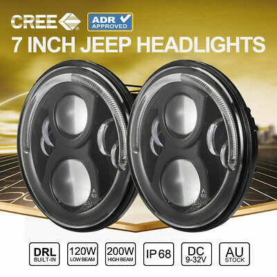 2x 100W 7inch ADR Approved CREE LED Headlights For Jeep Wrangler TJ JK 97-17