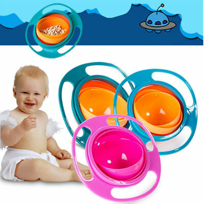 Baby Kids Spill-Proof Food Feeding Toddler 360 Rotate Gyro Food Bowl Dishes New