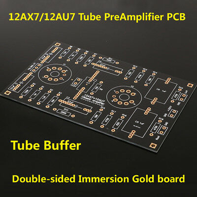 12AX7 12AU7 Vacuum Tube Buffer Preamplifier Preamp Board Golden Plated Bare PCB