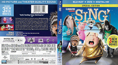 Sing (Blu-ray/DVD, 2017, 2-Disc Set)  McConaughey Witherspoon 108 min Rated PG