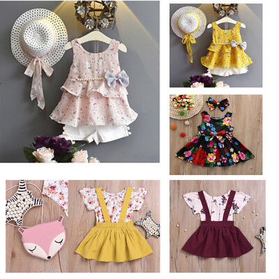 Toddler Baby Kid Girl Outfit Clothes O-Neck Floral Vest T-shirt+Pant+Sun Hat Set