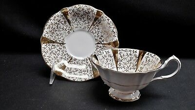 Queen Anne England Fine Bone China Gold Lace Cup & Saucer