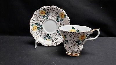 Royal Albert England Bone China Yellow Rose Flower Gold Chintz Cup & Saucer