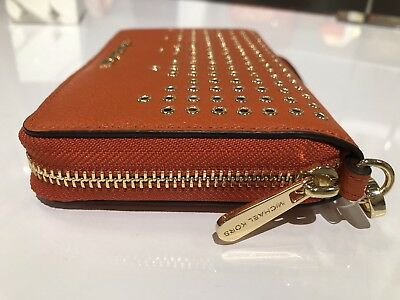 3842a20df1e7 Nwt Michael Kors Leather Hayes Lg Flat Mf Phone Case Wristlet wallet  Persimmon