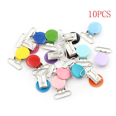 10pcs Mixed Color Infant Baby Metal Clips Pacifier Holders Alloy Suspender Hook'