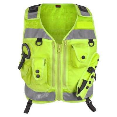 Hi Vis Yellow Tactical Patrol Vest for Police Officer PCSO Security Cop Utility