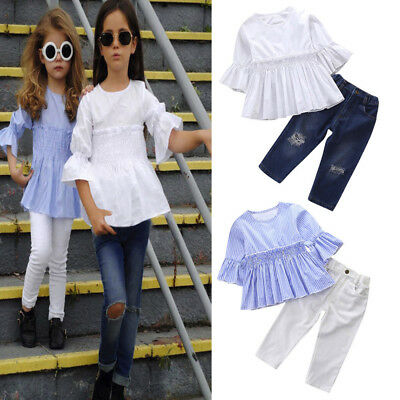 2Pcs Toddler Kids Baby Girl Half Sleeve Top+Denim Long Pants Outfits Clothes Set
