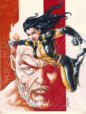 X-23 and OLD LOGAN sketches pin up drawing original art by NOORA