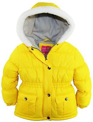 Pink Platinum Toddler Girls Sherpa Trim Hooded Puffer Winter Snow Jacket Coat 2T