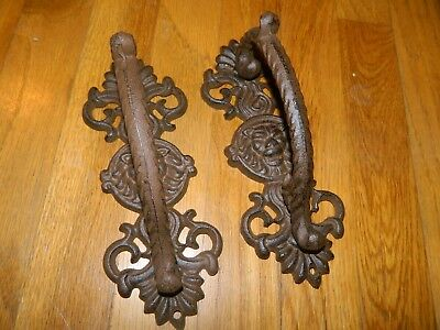 2-Pc Ornate Lions Head Iron Barn Cabinet Gate Handle Set
