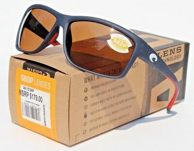 b338ea08fb COSTA DEL MAR Mag Bay POLARIZED Sunglasses Blue USA Amber 580P NEW  179 RARE