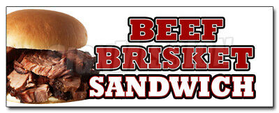 """12"""" BEEF BRISKET SANDWICH DECAL sticker slow cooked bar b que texas smoked"""