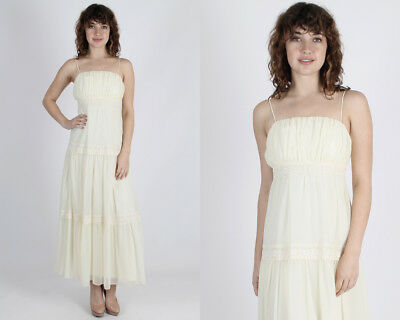 ce1499734aa Vintage 70s Boho Wedding Dress Sheer Ivory Floral Lace Tiered Hippie Party  Maxi