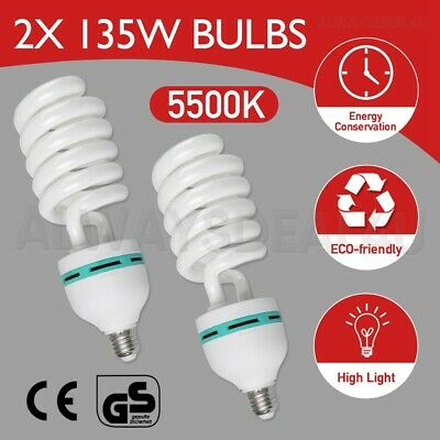 2X135W Photography Studio Daylight Bulb Energy Saving Video Light Lamp E27 5500K