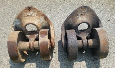 Industrial Cast Iron Double Wheel Casters Pair #47 Large 5.5 x 6.5 Mounting Area