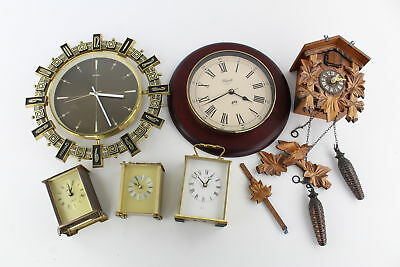6 Quartz / Battery Operated WALL & CARRIAGE CLOCKS inc Cuckoo UNTESTED