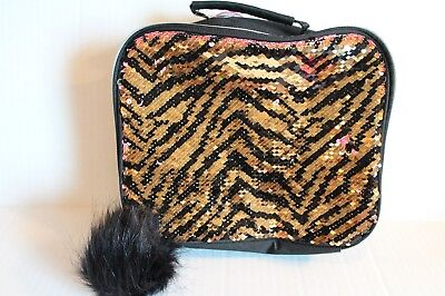 Justice Gold & Black Flip Sequin Tiger Lunch Box Tote NEW