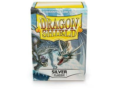 Silver Classic 100ct Dragon Shield Sleeves Standard Size FREE SHIPPING 5% OFF 2+