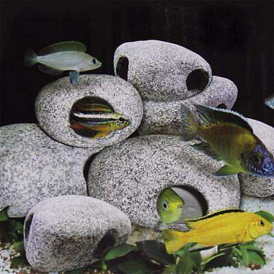 Aquarium Ornament Fish Pond Tank Cichlid Cave Stone Shrimp Breeding Ceramic Rock