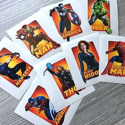 8pc Avengers vinyl stickers Iron Man Hulk Capitan America Thor Spiderman Hawkeye