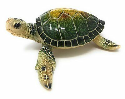 Green Tree Sea Turtle Resin Figurine, Indoor Outdoor Decor, 6.25 Inches Wide