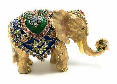Kubla Crafts Bejeweled and Enameled Elephant Trinket Box, Accented with...