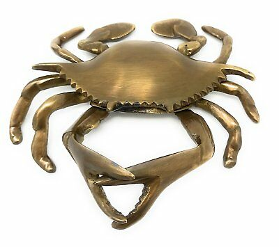 Madison Bay Company Nautical Antiqued Brass Blue Crab Paperweight, 5.5 Inches...
