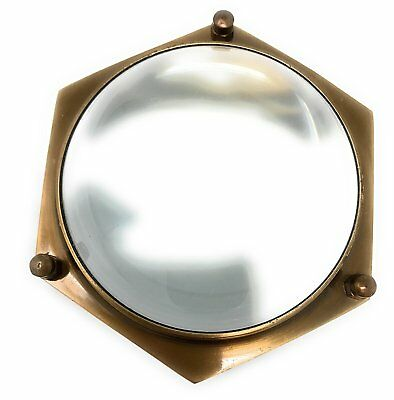 Madison Bay Company Antiqued Brass Hexagonal Magnifying Glass, 4 Inches Diameter
