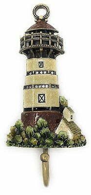Enameled Pewter Lighthouse Wall Hook by Kubla Crafts, Accented with Austrian...