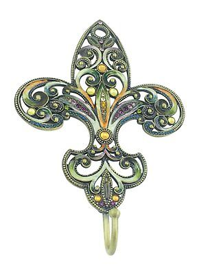 Bejeweled Pewter Fleur De Lis Wall Hook 7.25 Inches Tall