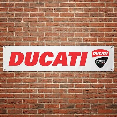 Ducati Corse Banner Garage Workshop Motorcycle PVC Sign Trackside Display