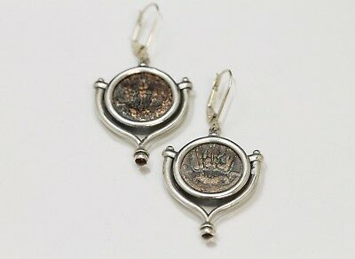 Sterling Silver Earrings with Genuine Ancient Bronze Coins, Judaea. w/Cert.- 065