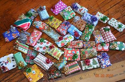 Dollhouse Miniature Christmas Gifts in Handmade customized gift wrap Lot of 10