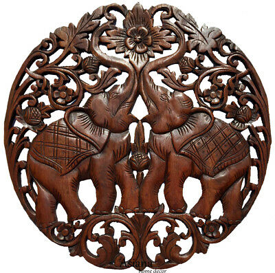 """Medallion Tropical Wood Carved Lucky Elephants Home Decor Wall Plaque Brown 24"""""""