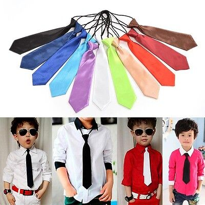 1X New Satin Elastic Neck Tie for Wedding Prom Boys School Kids Children Ties -