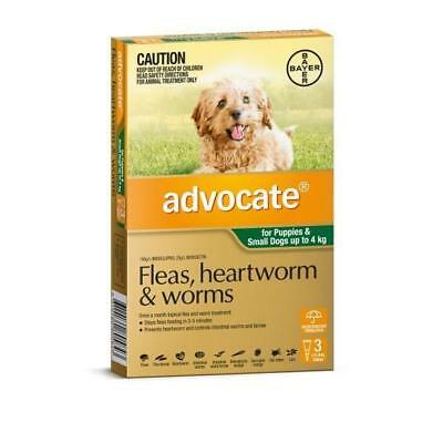 Advocate 3 Pack Small Dogs under 4kg for fleas, heartworm and worms