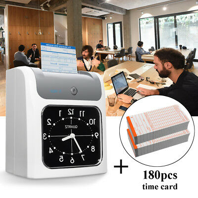 LCD Electronic Employee Time Attendance Time Clock Recorder + 180pcs Timecards