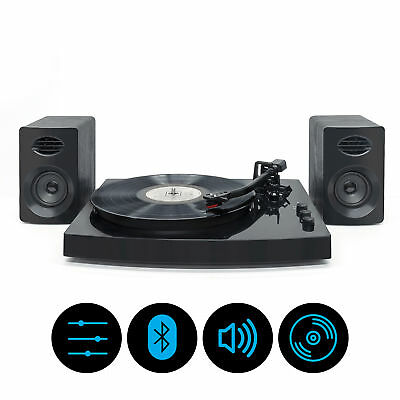 mbeat Pro-M Stereo Turntable Player with Bluetooth & Speakers - Black