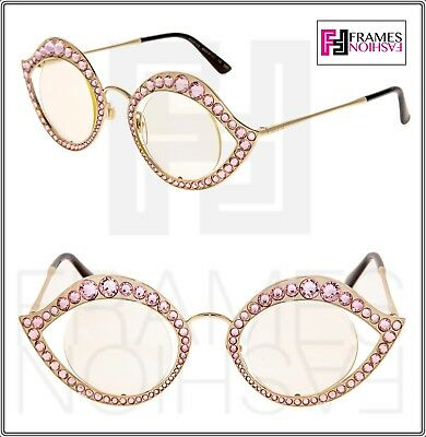 3c244bc4a GUCCI CRYSTAL LIPS Stud 0046 Gold Pink Metal RX Frame Glasses Sunglasses  GG4287S