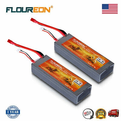 2X 5200mAh 7.4V 30C 2S Lipo Battery Pack T Plug For RC Car Truck Airplane Hobby