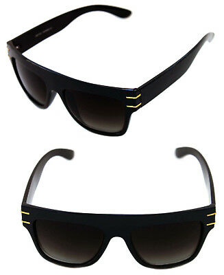 a35fb6bce2a9 Men s Hip Hop Flat Top Sunglasses Square RUN DMC Black Gold Frame Retro 80 s  90s