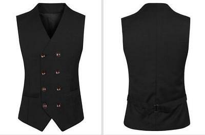 British Mens Wedding Vest Tie Suit Tuxedo Waistcoat Double Breasted work Coat
