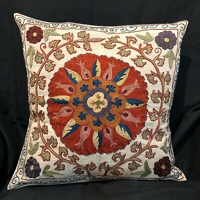 "Uzbek Handmade Suzani Silk Pillowcase, New, 16x16"" (41x41cm), Shipped from USA"